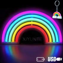 XIYUNTE Rainbow Neon Light Rainbow Lights Neon Signs Wall Light Battery or USB Operated LED Signs Rainbow Lamps Light up for Kids Room,Bar,Party,Wedding,Christmas+Free Gift