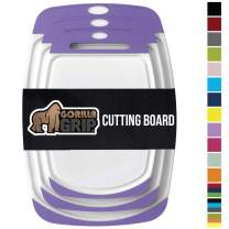 Gorilla Grip Original Oversized Cutting Board, 3 Piece, BPA Free, Dishwasher Safe, Juice Grooves, Larger Thicker Boards, Easy Grip Handle, Non Porous, Extra Large, Kitchen, Set of 3, Purple