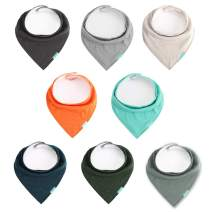 Lekesky Baby Bandana Drool Bibs with 100% Organic Cotton for Teething and Drooling Soft and Absorbent for Baby Boys and Girls, 8 Pack