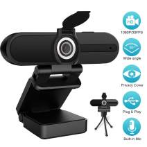 [2020 Upgraded] Webcam 1080P with Microphone Built-in, Web Cam 30fps Full HD, USB Computer/Laptop/PC Web Camera for Video Calling/Studying/Gaming/Recording/Zoom Meeting/YouTube/Skype/FaceTime/Hangouts