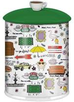 Silver Buffalo Warner Bros. Friends Iconic Quotes and Doodle Pattern Large Canister Ceramic Cookie Jar
