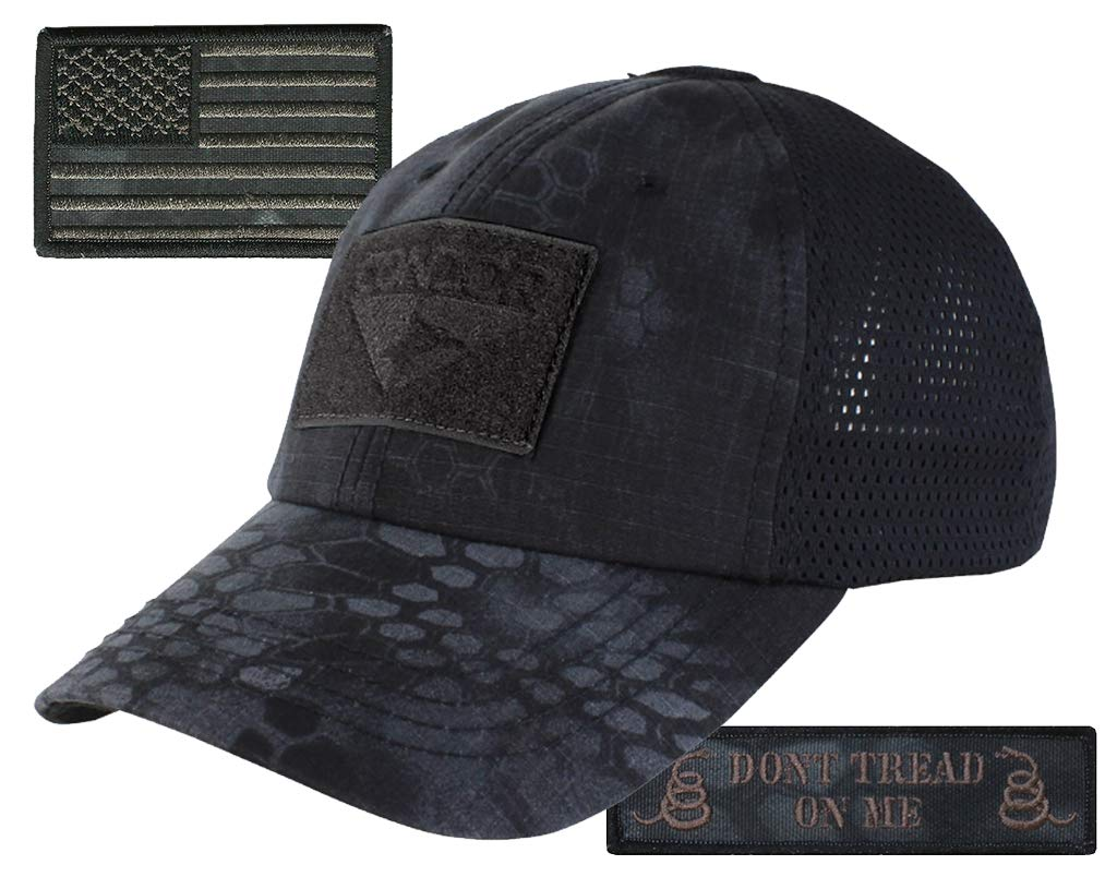 Condor Kryptek Typhon Mesh Tactical Cap & Patches Bundle - USA & Don't Tread On Me Patches