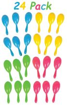 """24 Neon Maracas Shakers Bulk Mexican Fiesta Party Favor, Assorted Colors, Perfect for Parties, Celebrations, Decorations, Great Party Favor, 4"""", 12 Pairs - Noisemaker Toys, By 4E's Novelty,"""