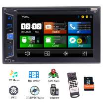 """EinCar GPS Car Radio Double Din Navigation Head Unit in Dash 6.2"""" Capacitive Touch Screen Car DVD Player Stereo Support Bluetooth FM/AM RDS USB Steering Wheel Control with Free Offline Map"""