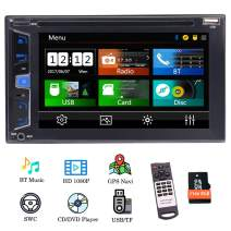 "EinCar GPS Car Radio Double Din Navigation Head Unit in Dash 6.2"" Capacitive Touch Screen Car DVD Player Stereo Support Bluetooth FM/AM RDS USB Steering Wheel Control with Free Offline Map"