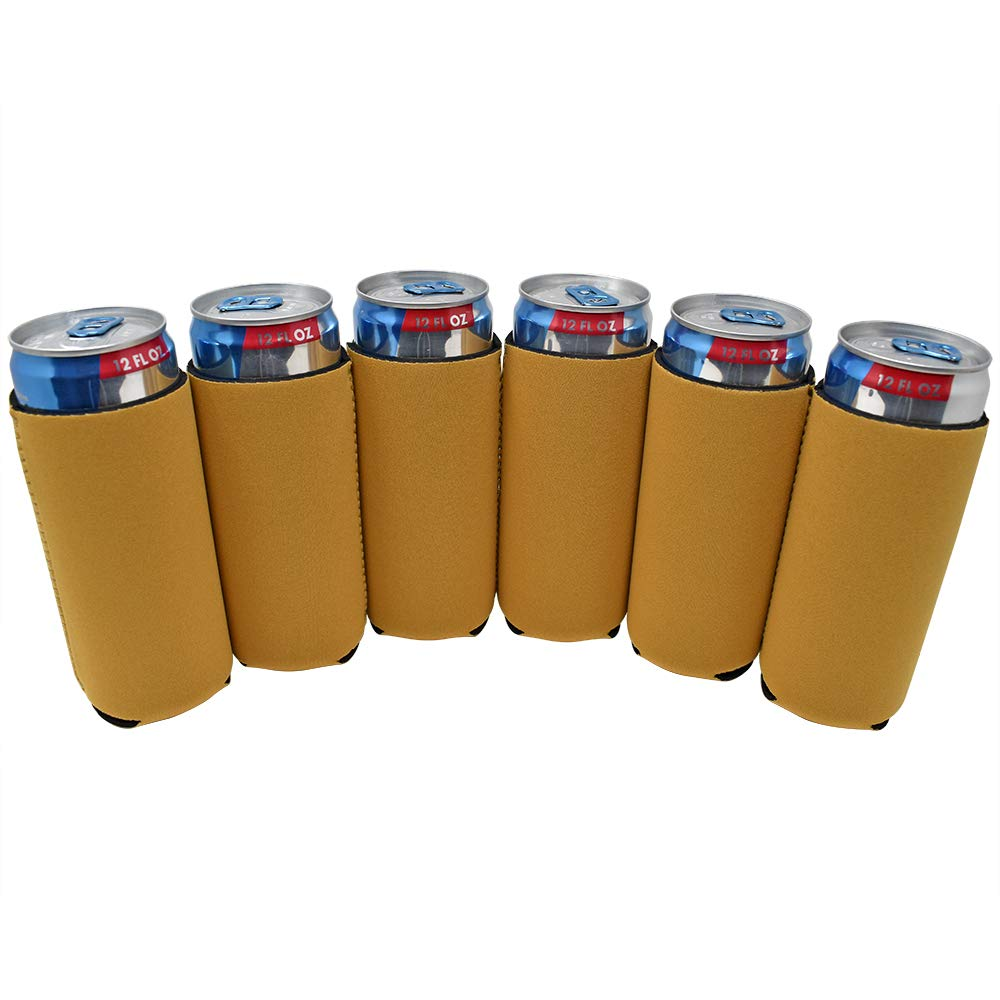 TahoeBay 6 Slim Can Sleeves - Blank Neoprene Beer Coolers – Compatible with 12oz RedBull, Michelob Ultra, White Claw Spiked Seltzer (Gold, 6)