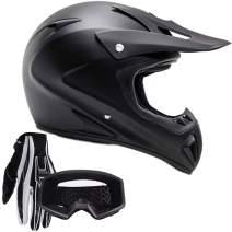 Typhoon Adult ATV MX Helmet Goggles Gloves Gear Combo Matte Black (XXL)