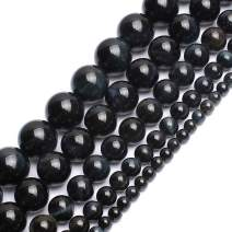 Love Beads Blue Black Tiger Eye Round Stone Beads for Jewelry Making 15inches 8mm Gemstone Beads