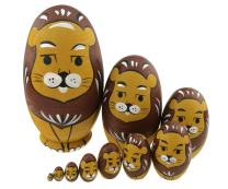 Cute Animal Theme Yellow and Brown Lion Egg Shape Wooden Handmade Nesting Dolls Matryoshka Dolls Set 10 Pieces for Kids Toy Birthday Home Kids Room Decoration