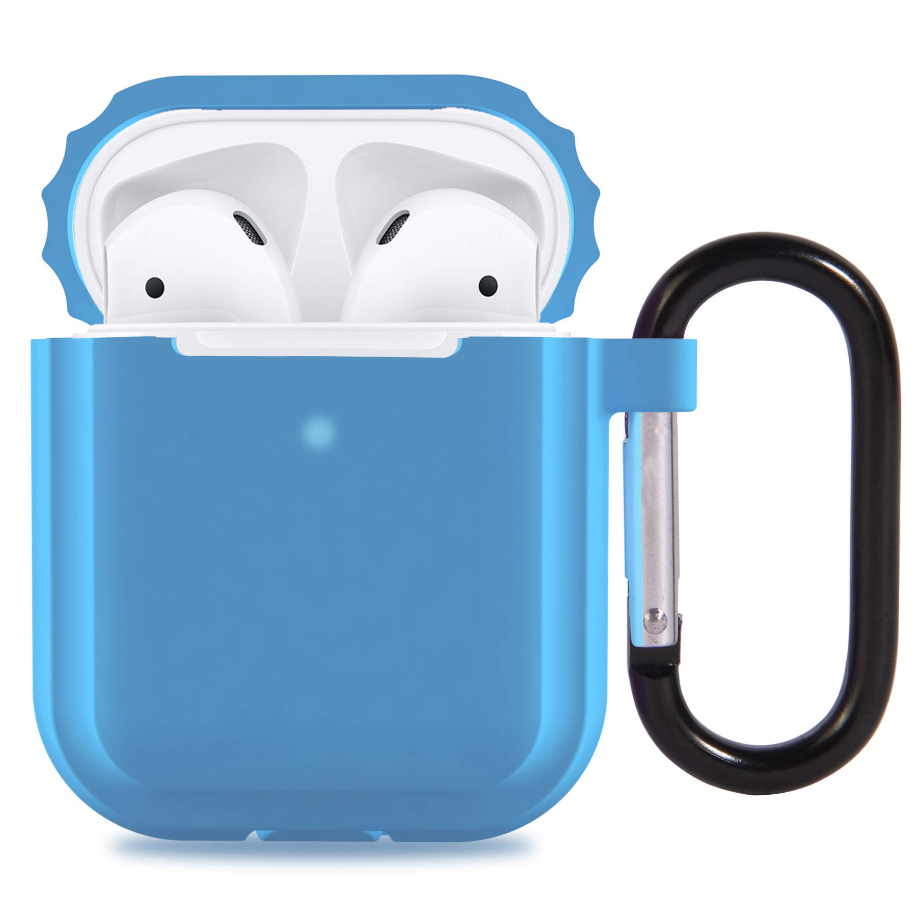 AirPods 2 Case Cover, Updated Version Silicone Protective Case and Skin for Airpods Charging Case,Support Wireless Charging with Front LED Light Visible (Blue)