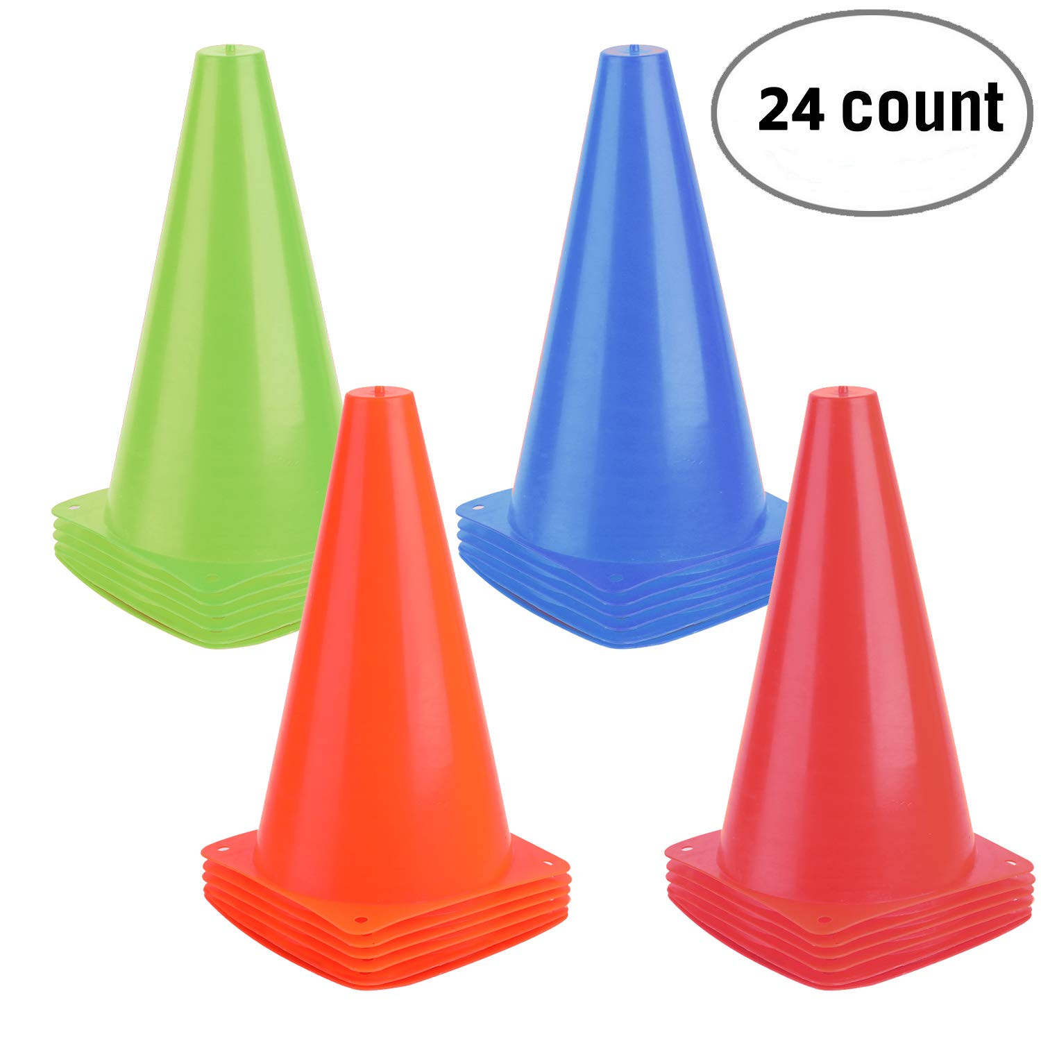 9 Inch Plastic Training Traffic Cones, Sport Cones, Agility Field Marker Cones for Soccer Basketball Football Drills Training, Outdoor Activity or Events - (Set of 10, 15 or 24, 4 Colors)