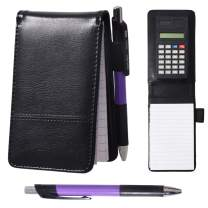 Lemical A7 Leather Pocket Notebook Small Shopping Note Pad Handy Memo Pad Book Ruled Reporters with Pen and Calculator, Replaceable Writing Pad, 60 Pages