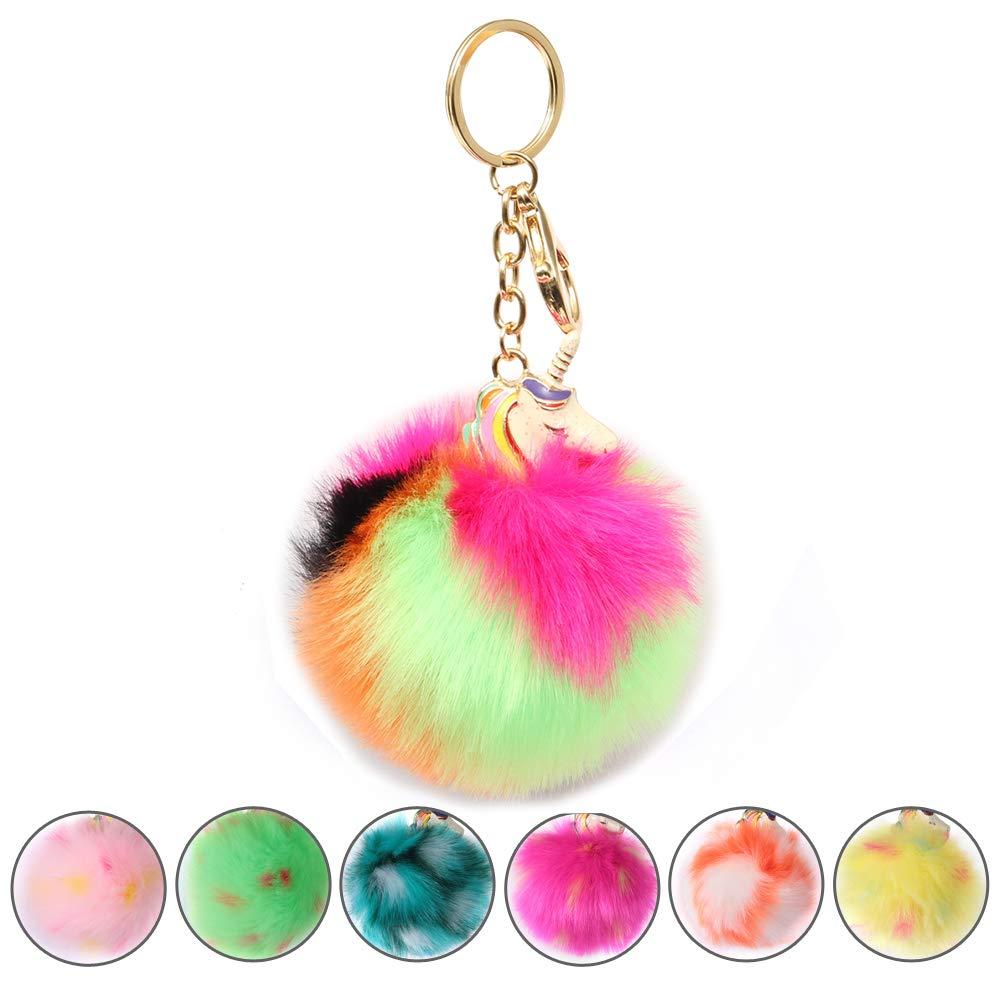 SHETOP Key Rings Bag Purse Keychain Charm for Women, Cute Keychain Wallet for Women Keychain For Women For Car Key Kids Party Gifts Fur Ball Pom Pom Colorful Rainbow Unicorn Keychain Gift, 1 Pack