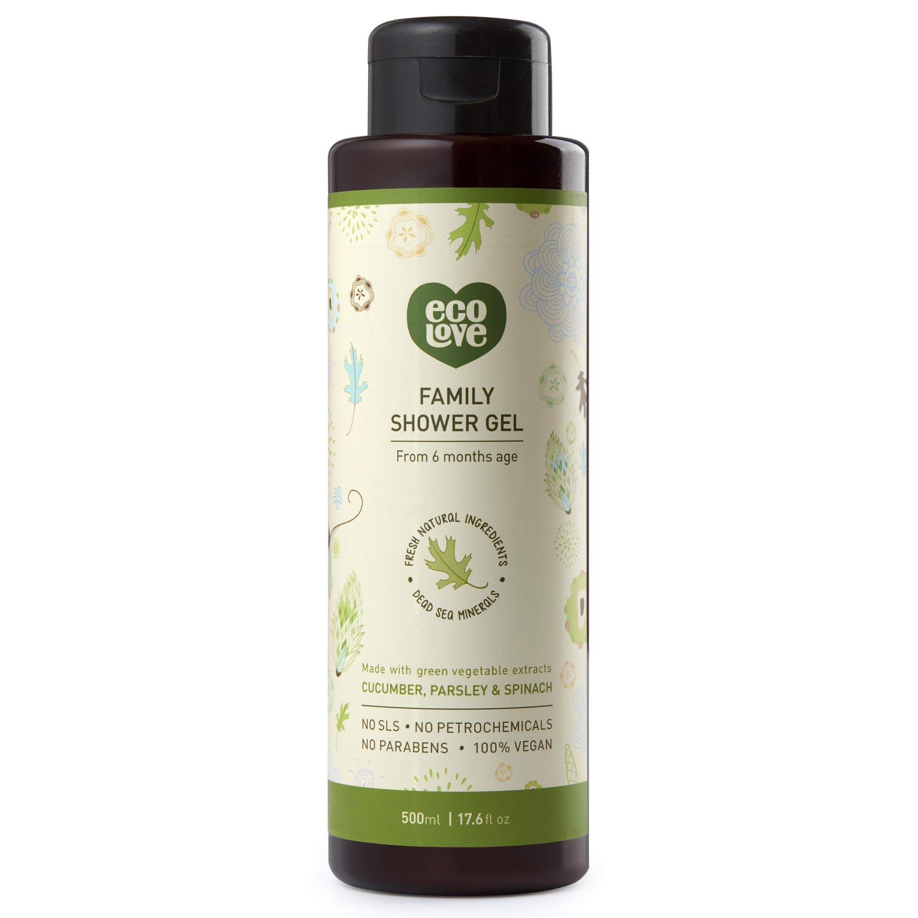 ecoLove Moisturizing Body Wash with Organic Cucumber Spinach and Parsley Natural Body Wash for Women Men Kids Babies Vegan and Cruelty Free Shower Gel, 17.6 oz