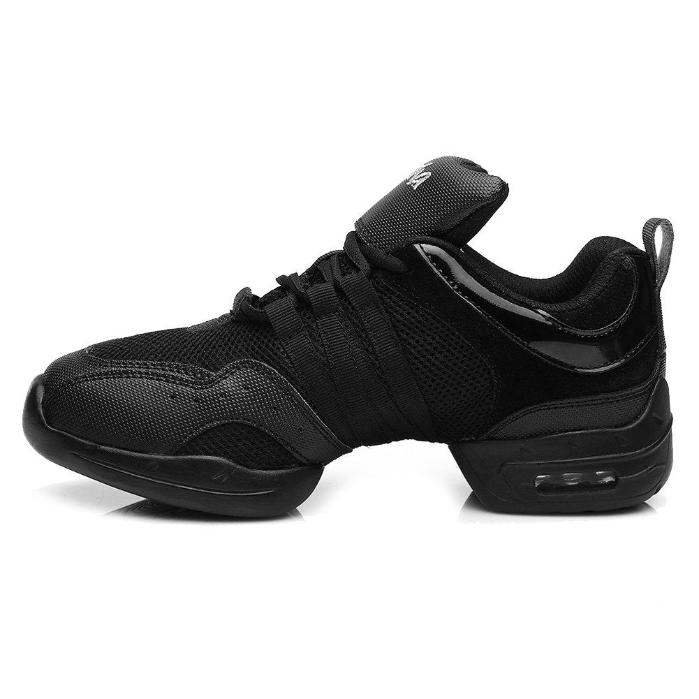 DKZSYIM Men and Women's Black Mesh Boost Dance Sneaker/Modern Jazz Ballroom Performance Dance-Sneakers Sports Shoes,Model B56B,9.5 B(M) US
