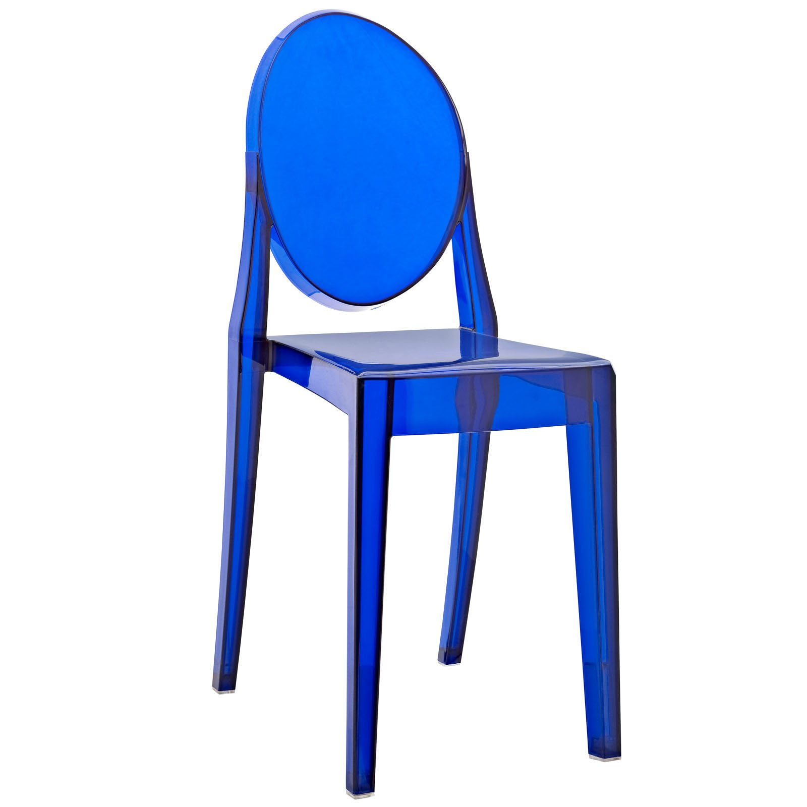 Modway Casper Modern Acrylic Stacking Kitchen and Dining Room Chair in Blue - Fully Assembled