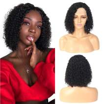 Missexy Short Bob Wigs Brazilian Jerry Curly Human Hair Wig for Black Women 10A Unprocessed Remy Brazilian Hair Bob Lace Front Wigs 180% Density Pre Plucked with Baby Hair 14 Inches