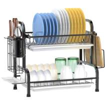 Dish Drying Rack, F-color 2 Tier 304 Stainless Steel Compact Dish Rack with Utensil Holder for Kitchen Countertop Organizer, Anti Rust Dish Drainer Shelf with Drain Board, Black