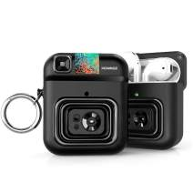 POWMEE Camera AirPods Case with Keychain TPU Protective Magnetic Cover Compatible with AirPods 1& 2 Earphone/USB Cable Storage Cases Suit for Kids Girls Teens Boys (Frond LED Visible) (Black)