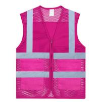 TOPTIE 2 Pockets High Visibility Zipper Front Mesh Reflective Vest, Multiple Color for Team Activity-Hot Pink-XL