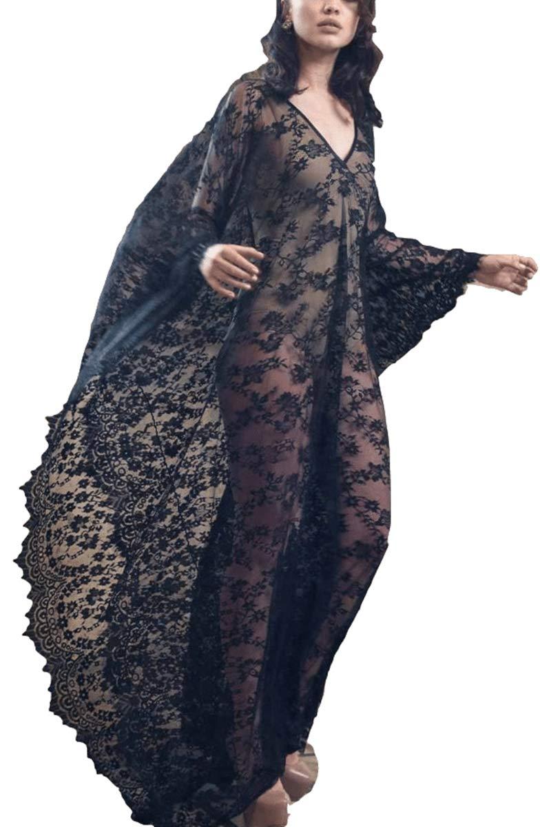 Women's Kaftan Maxi Dress Black lace Floral Deep V Neck Summer Beach Dress(One Size, 7195 Black)