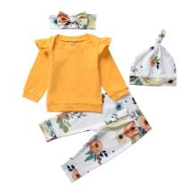 Fioukiay Newborn-Baby-Girls-Winter-Clothes Infant Toddler Fall Outfits Set T-Shirt Tops Flower Pants with Headband+Hat 4PCS