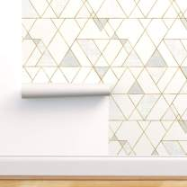 Spoonflower Pre-Pasted Removable Wallpaper, Cream Mod Geo Triangles Gold Neutral Print, Water-Activated Wallpaper, 12in x 24in Test Swatch