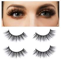 3D Mink Lashes 2 Pairs, Halloween, Christmas Theme False Eyelashes,100% Siberian Mink Fur False Eyelashes, 100% Handmade & Cruelty-Free,18mm Natural Round Look & Reusable-LINGSTAR(YM1090-Iris)