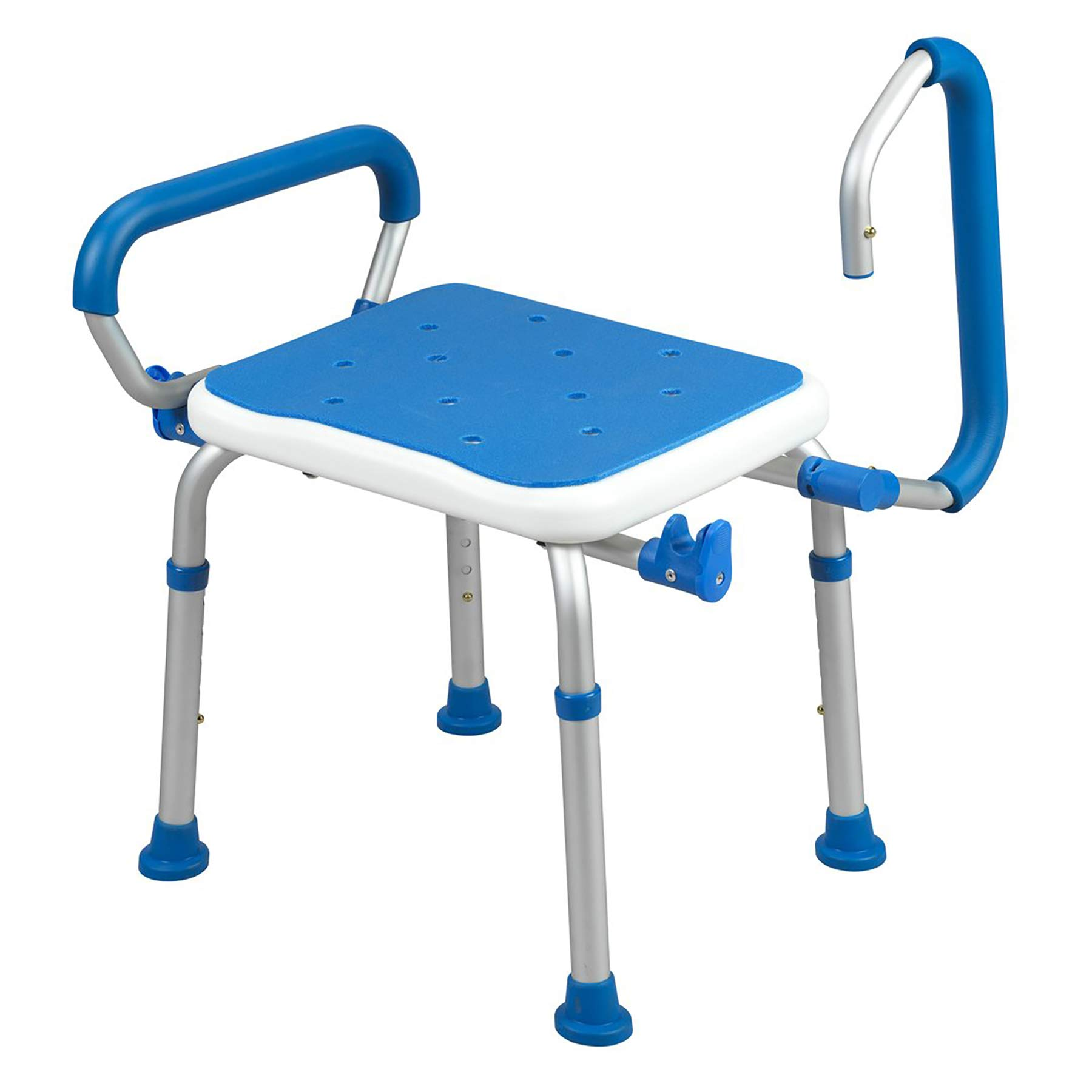 PCP Bath Bench Shower Safety seat, Swing arms, Adjustable Height, Medical Senior Living spa Stool, Blue