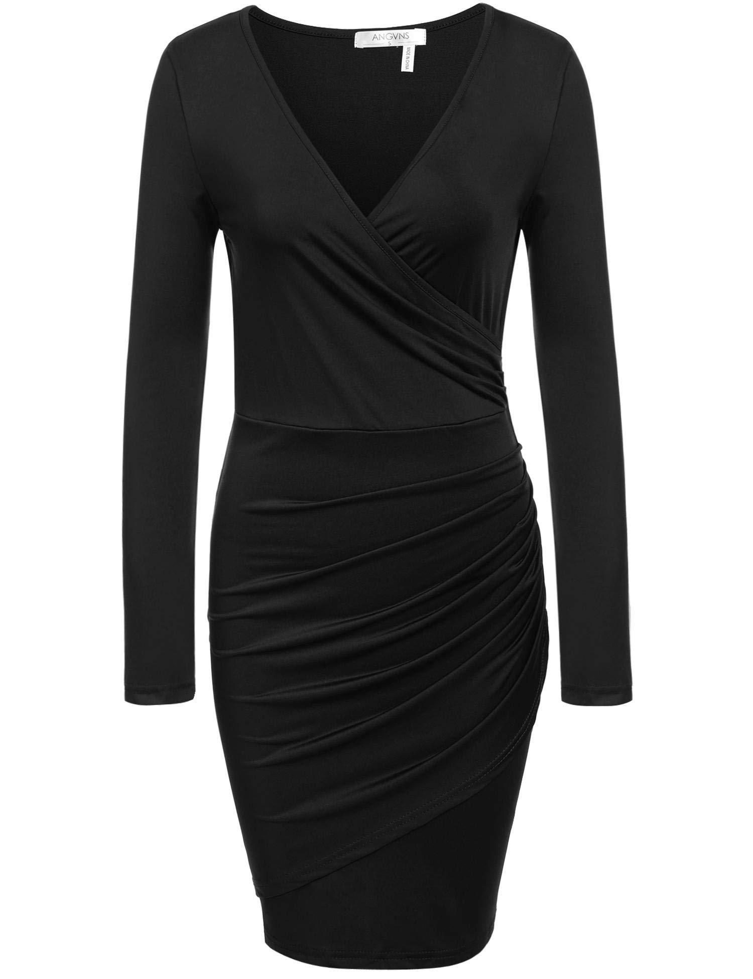ANGVNS Women Long Sleeve V Neck Slimming Office Pencil Dress, Black, M