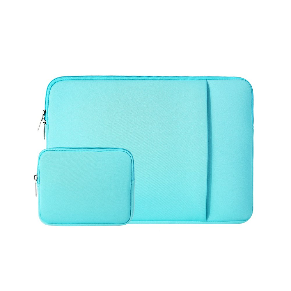 """RAINYEAR 14 Inch Laptop Sleeve Case Protective Soft Padded Zipper Cover Carrying Computer Bag with Front Pocket & Accessories Pouch,Compatible with 14"""" Notebook Chromebook Tablet Ultrabook(Blue)"""
