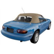 Sierra Auto Tops Convertible Soft Top Replacement, compatible with Mazda Miata MX5 1990-2005, w/Plastic Window, Cabrio Vinyl, Light Tan