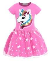 AmzBarley Girls Unicorn Outfit Flip Sequin Rainbow Star Theme Party Dress 2-8 Years