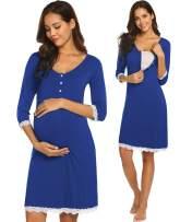 Ekouaer Women's Buttons Nursing Nightgown for Breastfeeding Sleepwear Lace 3/4 Sleeve Maternity Dress