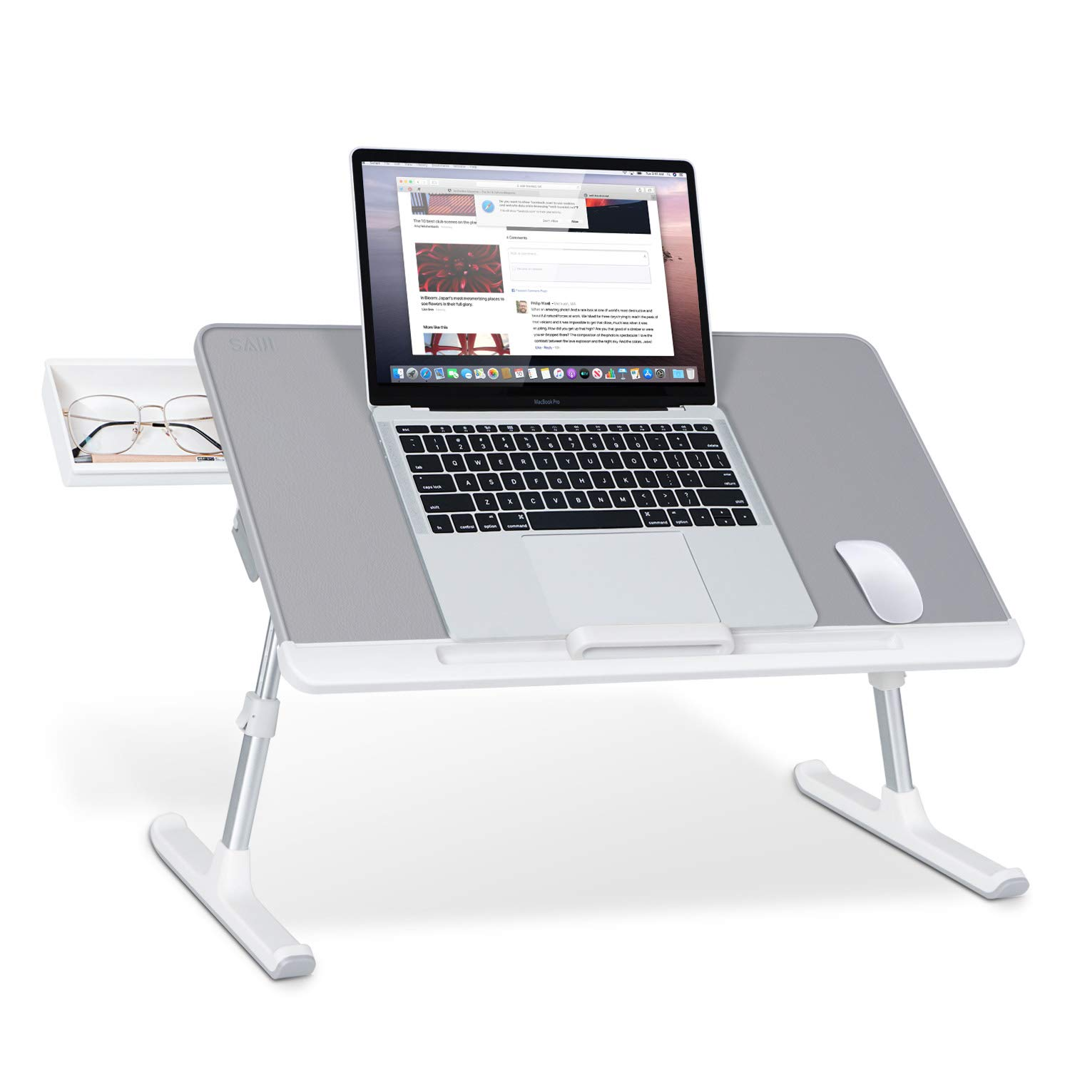 Picture of: Saiji Laptop Bed Tray Table Adjustable Pvc Leather Laptop Bed Table Portable Standing Desk With Storage Drawer Foldable Lap Tablet Table For Sofa Couch Floor Gray Large