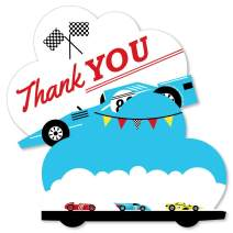 Let's Go Racing - Racecar - Shaped Thank You Cards - Race Car Birthday Party or Baby Shower Thank You Note Cards with Envelopes - Set of 12