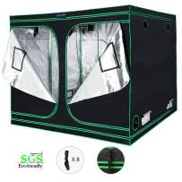 Quictent SGS Approved Eco-Friendly Reflective Mylar Hydroponic Grow Tent with Heavy Duty Anti-Burst Zipper and Waterproof Floor Tray for Indoor Plant Growing (96''x96''x78''), 8 Nylon Belts Provided