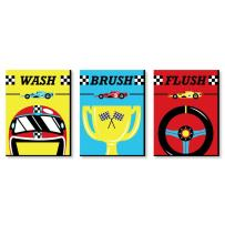 Big Dot of Happiness Let's Go Racing - Racecar - Kids Bathroom Rules Wall Art - 7.5 x 10 inches - Set of 3 Signs - Wash, Brush, Flush
