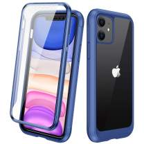 "Diaclara Clear Designed for iPhone 11 Case, Full Body Rugged Case with Built-in Touch Sensitive Anti-Scratch Screen Protector, Soft TPU Bumper Case Cover for iPhone 11 6.1"" (Blue and Clear)"