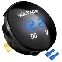 DaierTek DC 12V 24V Car LED Display Voltmeter Digital Panel Voltage Meter Waterproof Universal with Terminals and Panel for Boat Marine with Blue Light