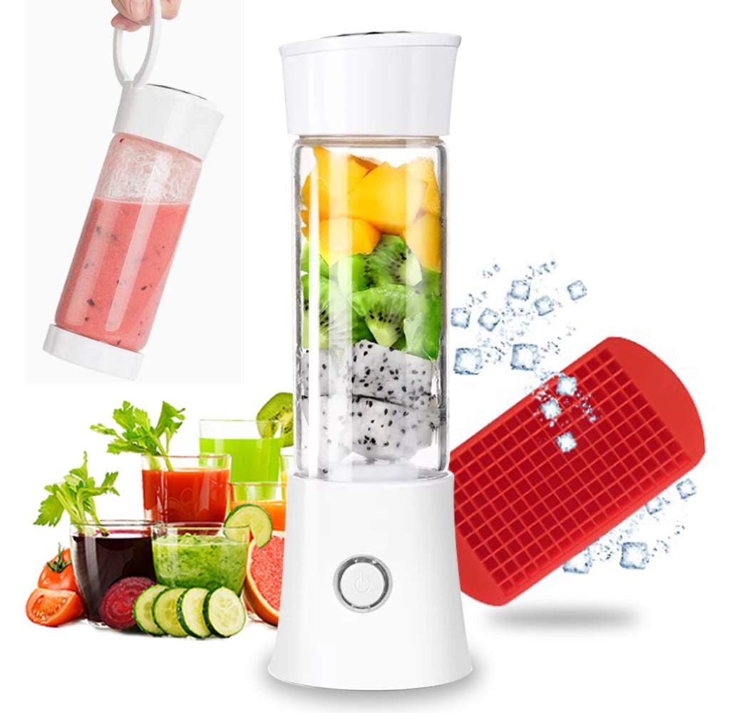 Portable Blender, Rechargeable Smoothie Blender 4000mAh Battery Strong Power Multifunctional Personal Blender with 16oz Glass Juicer Cup and Lid Mini Travel Blender for Shakes and Smoothies with Ice Cube Tray FDA BPA Free (White)