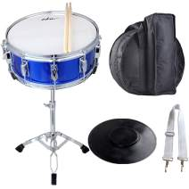 """ADM Student Snare Drum Set 14"""" X 5.5"""" with Gig Bag, Sticks, Stand and Practice Pad Kit, Blue"""
