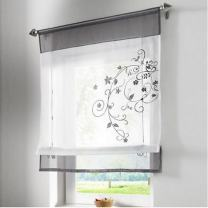 SIMPVALE Embroidered Panel Lifting Silk Ribbon Style Curtains, Grey 100cmX140cm