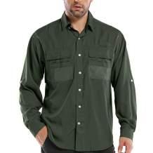 Men's UPF Long Sleeve Shirt UV Sun Protection Hiking Fishing Safari Quick Dry Cool Utility (5039 Army Green S)