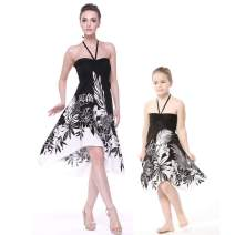 Matching Hawaiian Luau Mother Daughter Halter Dress in Black Indri