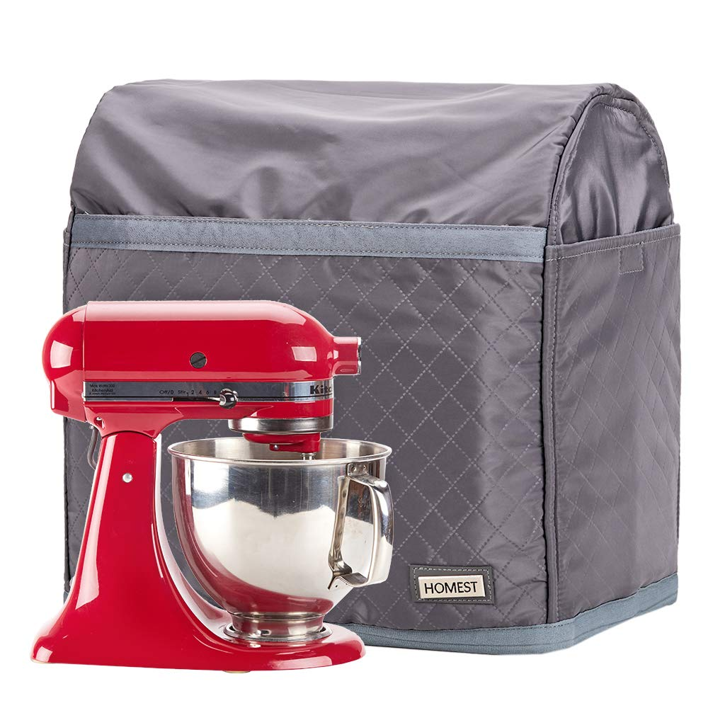 Black Patent Pending HOMEST Stand Mixer Quilted Dust Cover with Pockets Compatible with KitchenAid Tilt Head 4.5-5 Quart