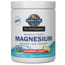 Garden of Life Dr. Formulated Whole Food Magnesium 198.4g Powder, Raspberry Lemon, Chelated Non-GMO Vegan Kosher Gluten & Sugar Free Supplement with Probiotics, Best for Anti-Stress Calm & Regularity
