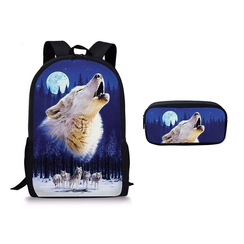 Cool Wolf School Bag Pencil Bags Children Bookbag Backpacks Rucksack 2pcs