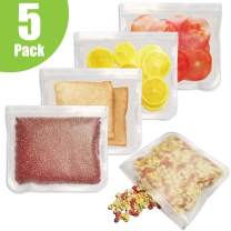 Reusable Storage Bags (5 Pack) Leakproof Freezer Bag Extra Thick FDA Grade PEVA Food Bags Bpa Free Ziplock Lunch Bag Travel & Home Organization for Sandwich Fruit Snack Make-Up Eco-Friendly