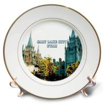 3D Rose The Salt Lake City LDS Temple with Spires Reaching to The Sky Porcelain Plate, 8""